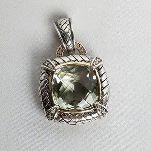 T&C 925 14k prasiolite diamond enhancer pendant